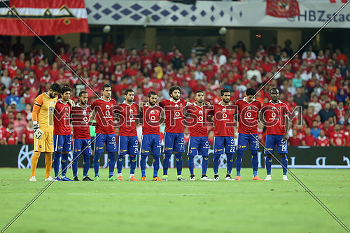 Egyptian football team Al Ahly lineup during AS ROMA match in abudhabi on 20 may 2016