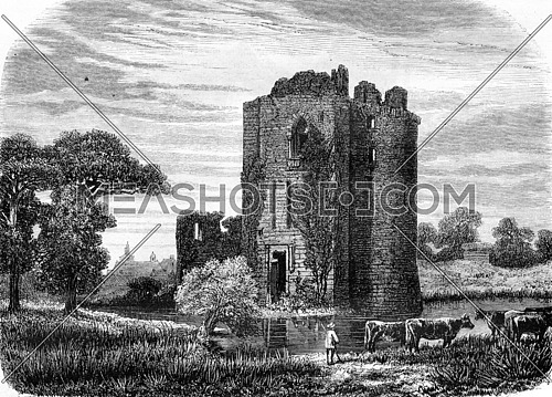 Ruins of the castle of Machecoul, vintage engraved illustration. Magasin Pittoresque 1857.
