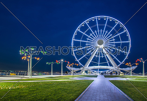 Ferris wheel at sea boulevard in Baku Azerbaijan