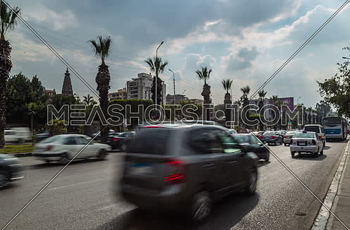Fixed Left for traffic at Salah Salim Street showing Le Baron Palace in background at Daytime
