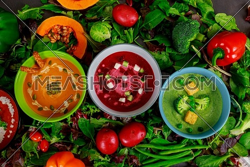 Different set vegetable cream multi colored soups top view