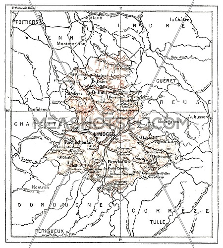 Map of Department of Haute-Vienna, vintage engraved illustration. Dictionary of words and things - Larive and Fleury - 1895.