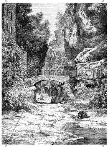 Near Sorrento, vintage engraved illustration. Magasin Pittoresque 1875.