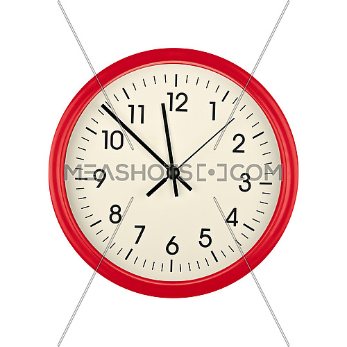 Close up red wall clock face dial with Arabic numerals, hour, minute and second hands isolated on white background