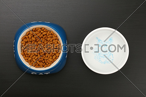 Brown dry cat food portion in blue ceramic bowl with cat word and water in white on black floor, close up, top view, personal perspective