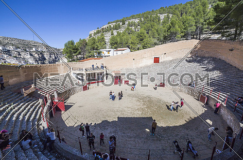 Alcala del Jucar, Spain - October 29, 2016: Ancient bullring, this square is constructed in the shape of ship and byline of the year 1902, next to the banks of the river Jucar, take in Alcala of the Jucar, Albacete province, Spain