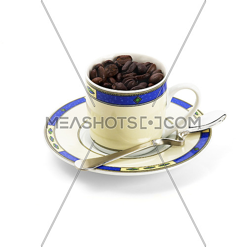 cup of roasted coffee beans isolated on white background