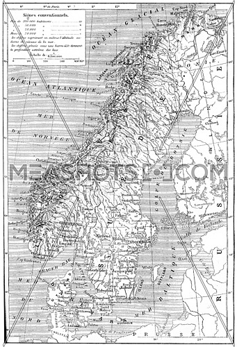 Old engraved illustration of map of Scandinavia - Sweden, Norway and Denmark. Dictionary of words and things - Larive and Fleury ? 1895