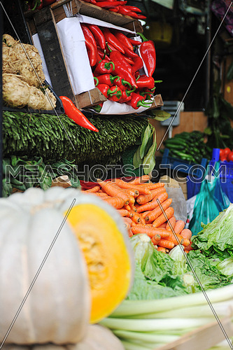 fresh healthy organic food  fruits and vegetables at market