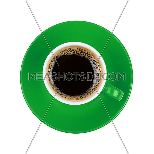 Full cup of black Americano or instant coffee on green saucer isolated on white background, close up, elevated top view