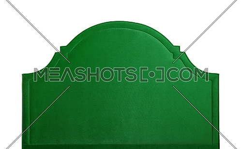 Shaped green soft velvet bed headboard isolated on white background, front view