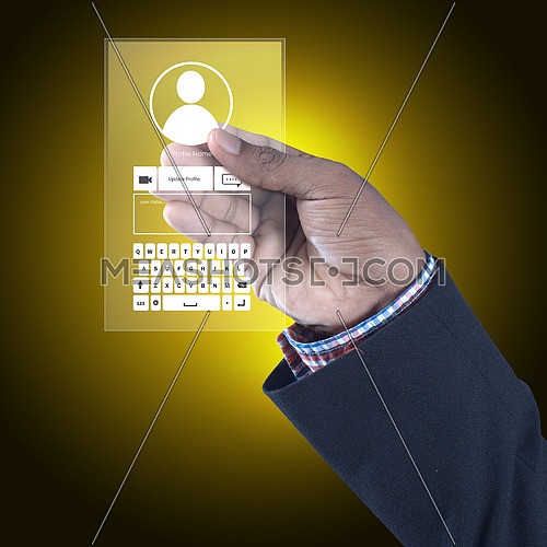 Man showing social network concept in color background
