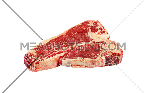 Close up one raw T-bone beef steak with rib bone isolated on white background, high angle view