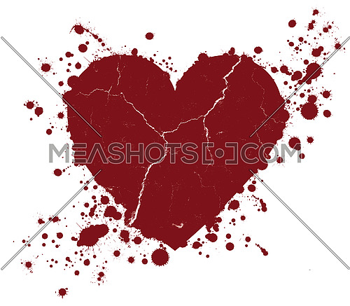 Red grunge heart shape with drops of paint blobs splattered around isolated on white background