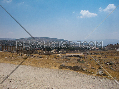 A far view of the historical main site of Jarash, Jordan