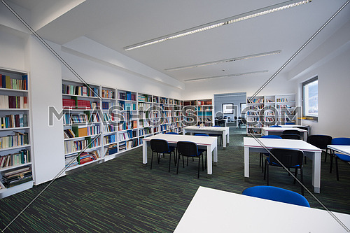 new school library interior, education and database archive concept