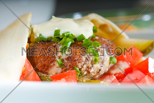fresh traditional falafel wrap on pita bread with fresh chopped tomatoes
