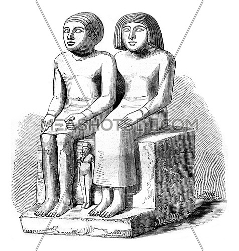 Egyptian museum, the Louvre, vintage engraved illustration. Magasin Pittoresque 1852.