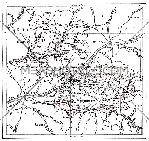 Topographical Map of Department of Loir-et-Cher in Centre, France, vintage engraved illustration. Dictionary of Words and Things - Larive and Fleury - 1895