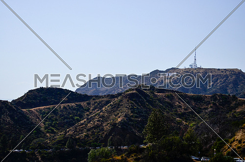 A landscape of with Hollywood Sign on the back hill, LA, California.