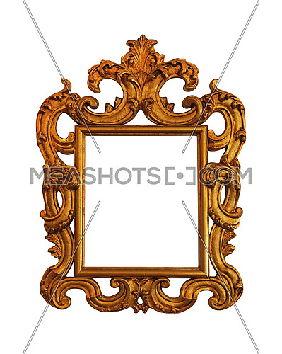 Antique old baroque ornate wooden classic golden painted rectangular frame for picture, photo or mirror, isolated on white background, close up