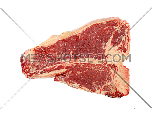 Close up one raw T-bone beef steak with rib bone isolated on white background, elevated top view, directly above