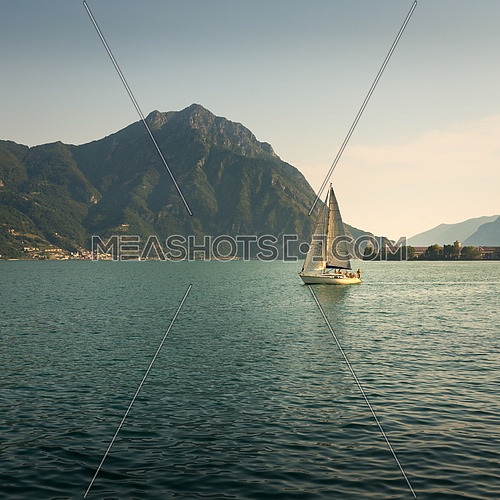 In the picture a view of Lake Iseo from the city of Lovere, on the side of a sailboat.