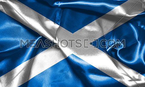 Flag Of Scotland Waving in The Wind 3D illustration