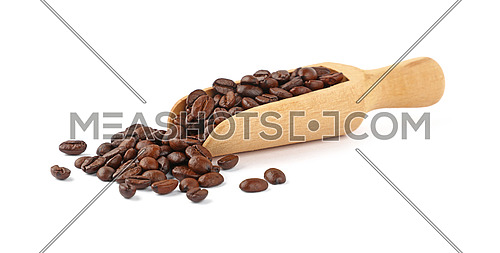 Close up wooden scoop full of roasted Arabica coffee beans isolated on white background, high angle side view