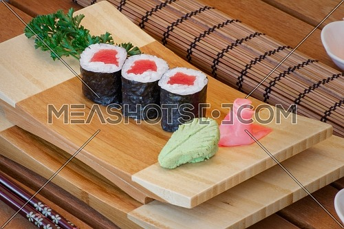 Japanese sushi in plate from wood.