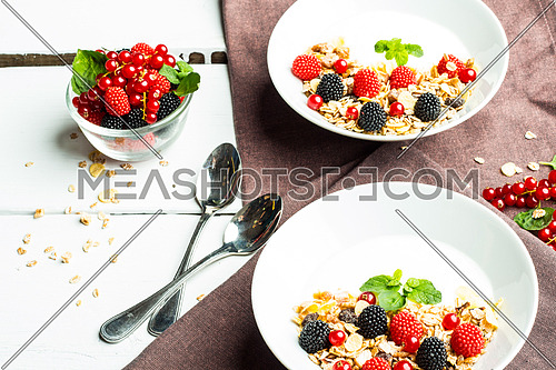 Breakfast bluberry & strawberry as a healthy food