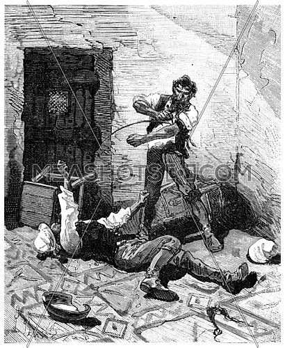 Two thousand leagues across south america. Bleeding!, vintage engraved illustration. Journal des Voyages, Travel Journal, (1880-81).