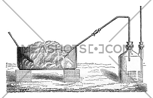 Preparation of liquid sulfur dioxide, vintage engraved illustration. Magasin Pittoresque 1857.