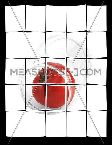 tomato in a glass jar isolated on white background