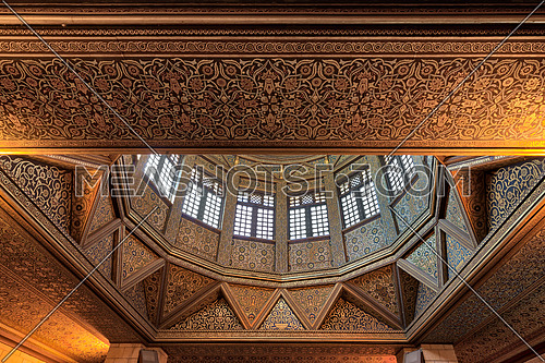 Ceiling of Nilometer building, an ancient Egyptian water measurement device dates from 715 AD, used to measure the level of river Nile, located in Rhoda Island, River Nile, Cairo, Egypt