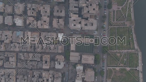 Fly over top shot Shot Drone for Al manial Area revealing The river Nile  ,  in 22th of March 2018 at cairo