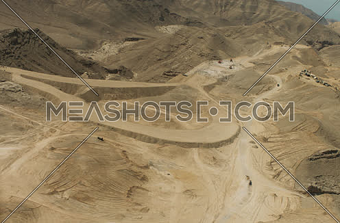 Arial shot for construction zone in the desert in Suez at day