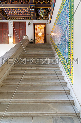 Manial Palace of Prince Mohammed Ali Tawfik. Staircase leading to the residence of prince's mother decorated with Turkish glazed ceramic tiles, Cairo, Egypt