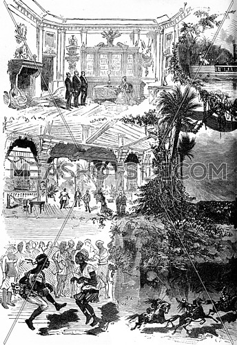 The Mysteries Of Africa, The Black Venus, play in five acts and twelve scenes, M.Ad Belot, vintage engraved illustration. Journal des Voyages, Travel Journal, (1879-80).