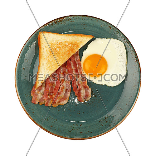 Close up English breakfast, sunny side egg, toasted bread and roasted bacon slices on blue plate isolated on white background, elevated top view, directly above