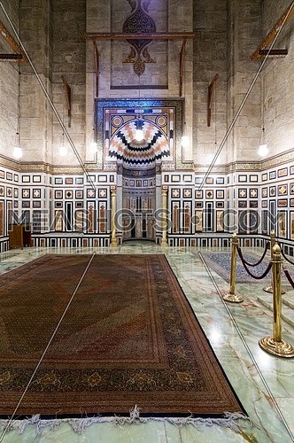 Interior of the tomb of the Reza Shah of Iran, Al Rifaii Mosque (Royal Mosque), located in front the Cairo Citadel, constructed between 1869 and 1912, Cairo, Egypt