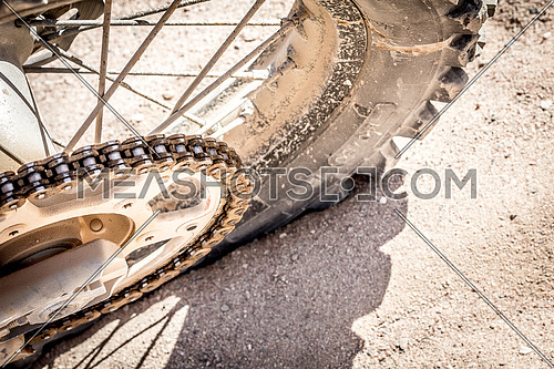 close up of a Dirt Bike tyre on the Track