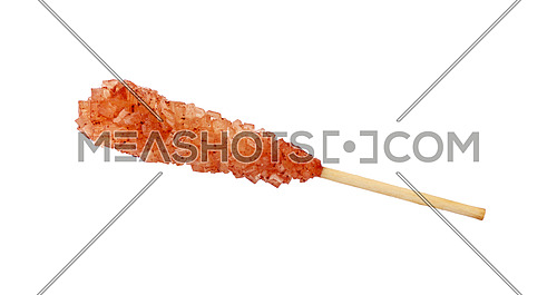 Close up one wooden stick with brown sugar crystals isolated on white background, elevated top view, directly above
