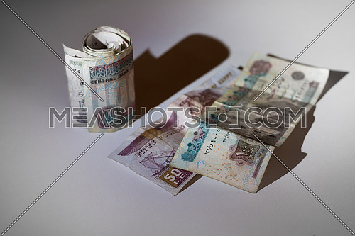 Egyptian Money on a grey table top