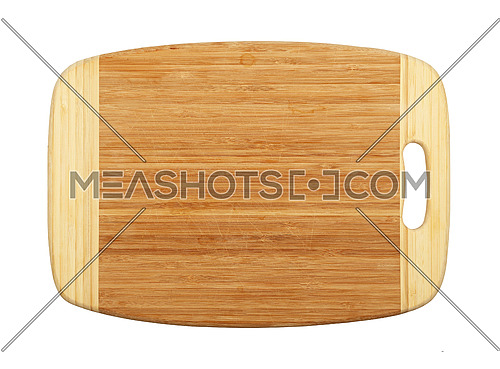 Close up of one old used rectangular shaped brown, bamboo wood cutting board with stains and hack marks, isolated on white background