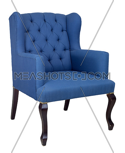 Vintage Furniture - French blue wingback armchair with dark brown wooden legs isolated on white background including clipping path