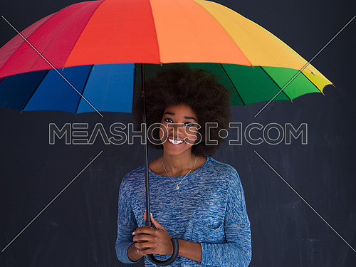 Portrait of young beautiful african american woman holding a colorful umbrella isolated on a gray background