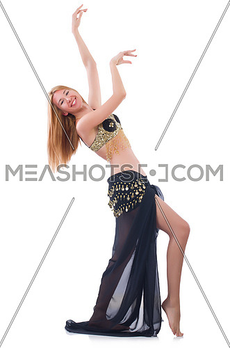 Girl dancing belly dance on white