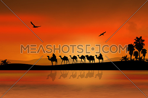 Camel caravan going through the desert on beautiful on sunset, background illustration
