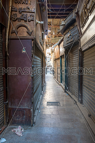 Cairo, Egypt- June 26 2020: Alleys of old historic Mamluk era Khan al-Khalili famous bazaar and souq, with closed shops during Covid-19 lockdown